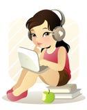 女孩膝上型计算机年轻人 库存例证