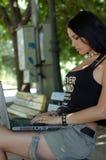 女孩膝上型计算机 图库摄影