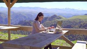 女孩自由职业者遥远地研究在山的一台膝上型计算机 影视素材