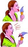 女孩舔冰淇凌,但是矮人在冰淇凌掩藏! 图库摄影