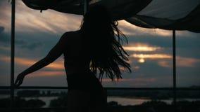 女孩舞蹈家剪影日落的-杆舞蹈,慢动作 股票录像