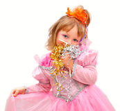 女孩节假日孩子当事人粉红色 免版税图库摄影