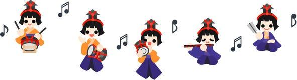 五�y.b�ab[ؙ:d�:!&�k��.b_女孩节日五音乐家 免版税库存图片