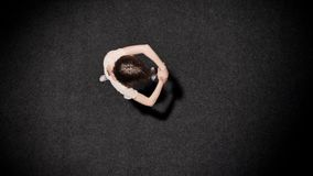 女孩芭蕾舞女演员剪影在黑地板,芭蕾概念,运动概念,顶面射击上跳舞 影视素材