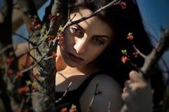 女孩芽的虚构的神色在树的 免版税库存照片