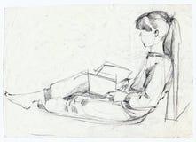 女孩草图 库存例证