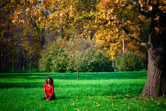 女孩草绿色坐的年轻人 免版税库存照片