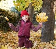 女孩获得的乐趣在背景在秋天森林、黄色叶子和树里做面孔 免版税图库摄影