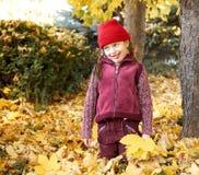 女孩获得的乐趣在背景在秋天森林、黄色叶子和树里做面孔 库存图片