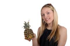 女孩菠萝 免版税库存照片