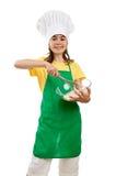 女孩藏品厨具 图库摄影