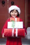 女孩藏品圣诞节礼品 库存图片