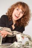 女孩藏品货币 免版税图库摄影