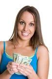 女孩藏品货币 免版税库存照片