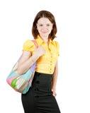 女孩藏品钱包年轻人 免版税库存照片