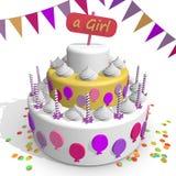 女孩蛋糕 庆祝一个新出生的女孩的诞生 免版税图库摄影
