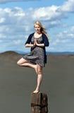 女孩行程一常设瑜伽 库存图片