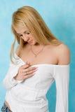 女孩衬衣白色 免版税库存照片