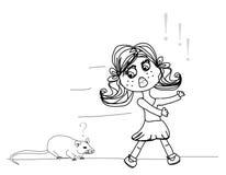 女孩被惊吓鼠标 免版税库存照片