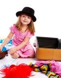 女孩装箱手提箱 免版税库存照片