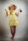 女孩褂子纵向黄色 免版税库存图片