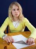 女孩认为 免版税图库摄影