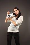 女孩记录员磁带 库存图片