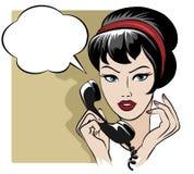 女孩讲话由电话与空的讲话 免版税库存图片
