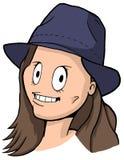 女孩讽刺画有棕色头发、大眼睛和蓝色帽子的 库存图片