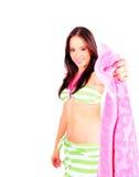女孩诉讼游泳佩带的年轻人 库存图片