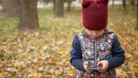 女孩调查在黄色叶子背景的电话  秋天 股票视频