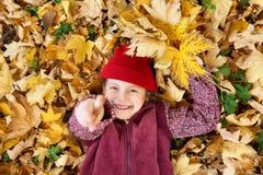 女孩谎言在黄色叶子背景的秋天森林里支持 图库摄影