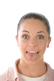 女孩贯穿的舌头 免版税图库摄影