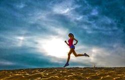 女孩赛跑者作用影片的剪影 库存照片