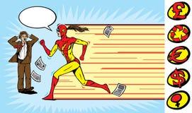 女孩赛跑者超级英雄 库存图片