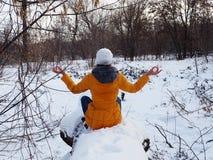 女孩走入一个积雪的公园 免版税库存图片