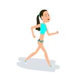 女孩跑步 从事的健身女孩年轻人 背景漫画人物厚颜无耻的逗人喜爱的狗愉快的题头查出微笑白色 免版税图库摄影