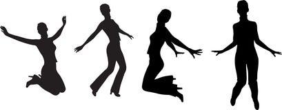 女孩跳剪影向量 库存图片