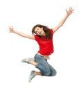 女孩跳少年 免版税库存照片