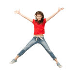 女孩跳少年 库存照片
