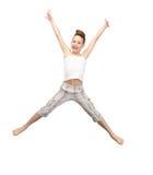 女孩跳少年 免版税图库摄影