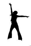 女孩跳年轻人 免版税图库摄影