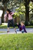 女孩跳房子使用 图库摄影