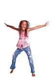 女孩跳的年轻人 库存照片