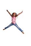 女孩跳的年轻人 库存图片