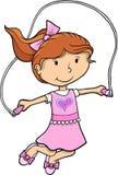 女孩跳绳向量 免版税库存图片