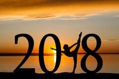 2018女孩跳舞新年剪影在金黄日落的 库存图片