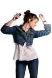女孩跳舞 图库摄影