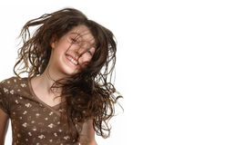 女孩跳 免版税图库摄影