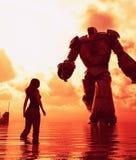 女孩身分在看对一个巨型机器人的海 库存例证